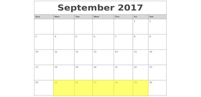 Sept 25-29 2017 Food Holidays