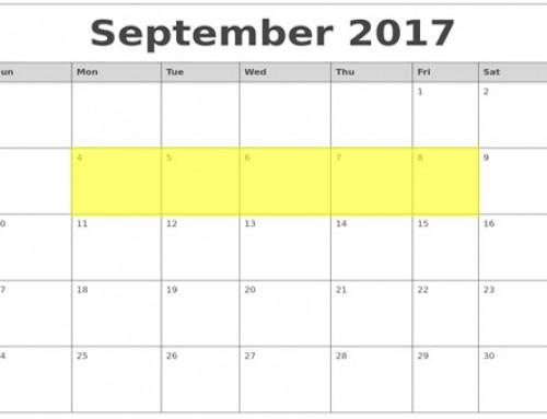 Upcoming Food Holidays: Sep 4 – 8, 2017