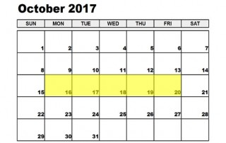 October 16-20 2017 Food Holidays