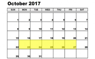 October 23-27 2017 Food Holidays