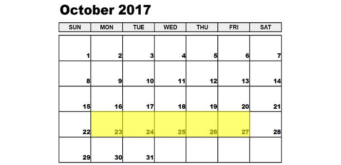 October 23-27 2017 Food Holidays