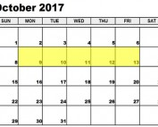 October 9-13 2017 Food Holidays