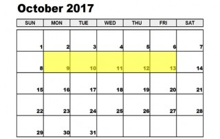 October 9-13 2017 Food Holidays