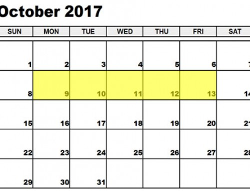Upcoming Food Holidays: Oct 9-13, 2017