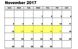 Nov 13-17 2017 Food Holidays