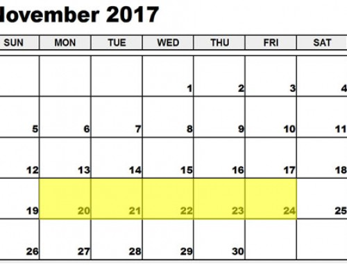 Upcoming Food Holidays: Nov 20 – 24, 2017