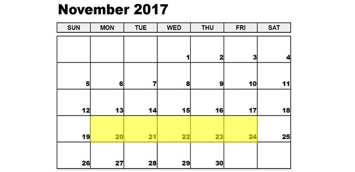 Nov 20-24 2017 Food Holidays
