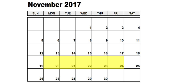 Nov 20-24 2017 Food Holidays