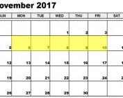 Nov 6-10 2017 Food Holidays