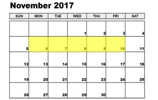Nov 6-10 2017 Food Holidays