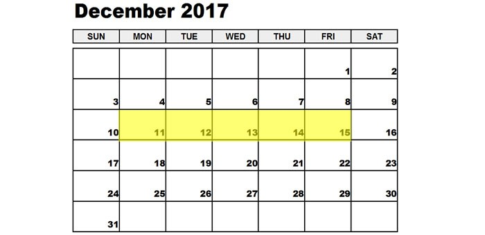 Dec 11-15 2017 Food Holidays