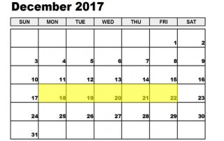 Dec 18-22 2017 Food Holidays