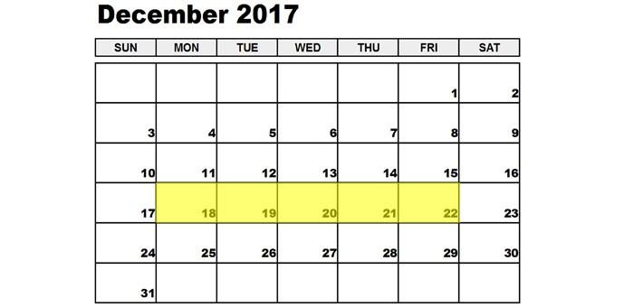 Dec 18-22 2017 Food Holidays