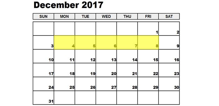 Dec 4-8 2017 Food Holidays