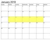 Jan 15-19 2018 Food Holidays