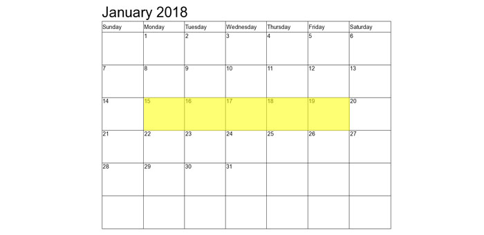 Jan 15-19 2018 Food Holidays