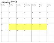 Jan 22-26 2018 Food Holidays