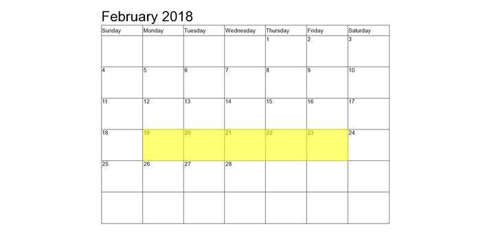 Feb 19-23 2018 Food Holidays