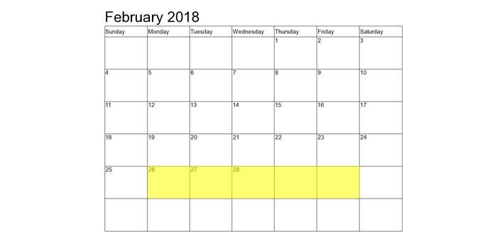 Feb 26-2 2018 Food Holidays