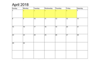 Apr 2-6 2018 Food Holidays