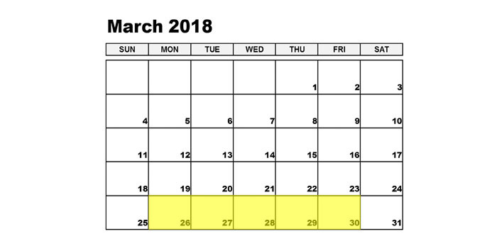 Mar 26-30 2018 Food Holidays