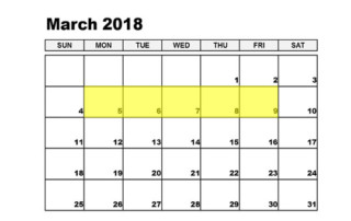 Mar 5-9 2018 Food Holidays