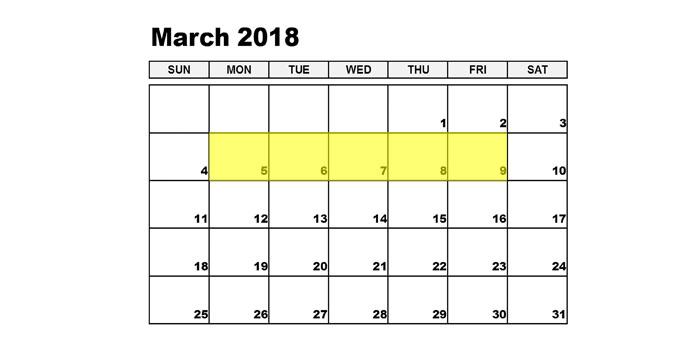 Mar 5-9 2018 Food Holidays