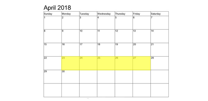 Apr 23-27 2018 Food Holidays