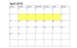 Apr 9-13 2018 Food Holidays