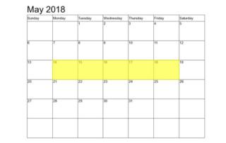 May 14-18 2018 Food Holidays