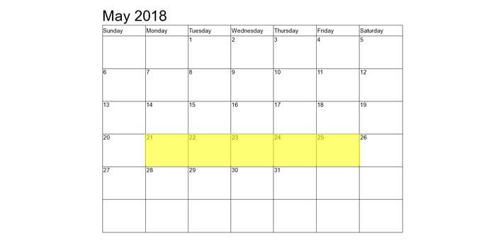 May 21-25 2018 Food Holidays