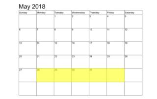 May 28-1 2018 Food Holidays