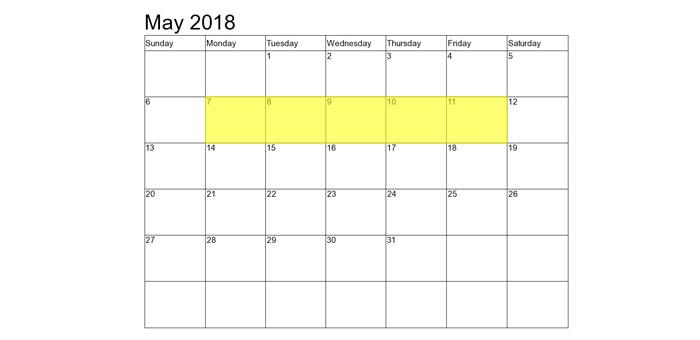 May 7-11 2018 Food Holidays