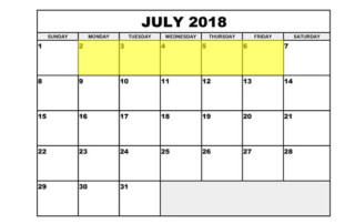 July 2-6 2018 Food Holidays