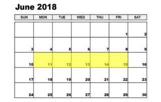 June 11-15 2018 Food Holidays