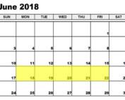June 18-22 2018 Food Holidays