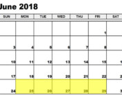 June 25-29 2018 Food Holidays