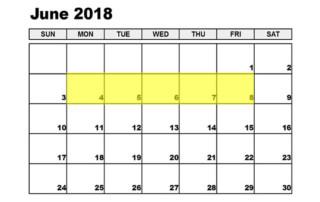 June 4-8 2018 Food Holidays