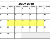 July 16-20 2018 Food Holidays