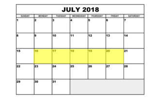 July 16-20 2018 Food Holidays