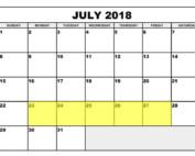 July 23-27 2018 Food Holidays