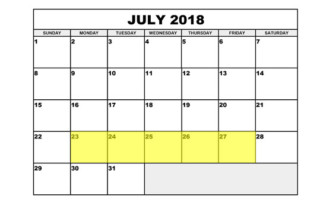 July 23-27 2018 Food Holidays