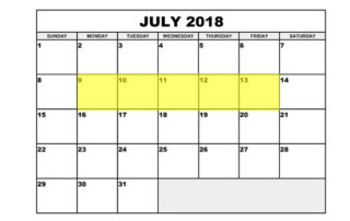 July 9-13 2018 Food Holidays