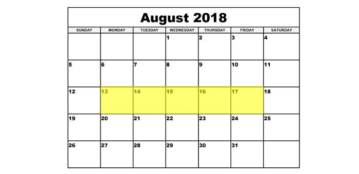 Aug 13-17 2018 Food Holidays
