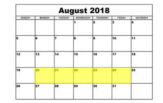 Aug 20-24 2018 Food Holidays