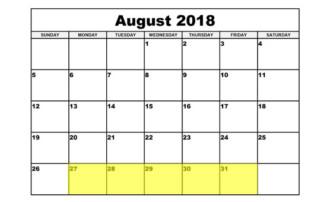 Aug 27-31 2018 Food Holidays