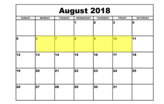 Aug 6-10 2018 Food Holidays