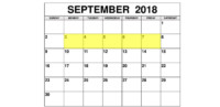 Sep 3-7 2018 Food Holidays