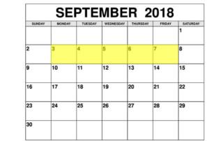 Sep 3-7 2018 Food Holidays