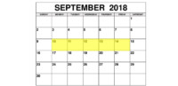Sep 10-14 2018 Food Holidays